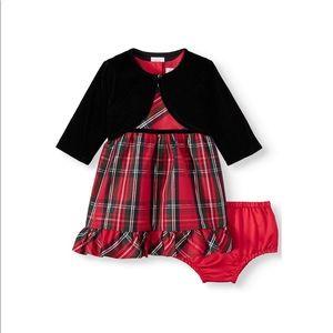 Plaid Lurex Dress with Black Shrug